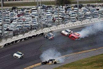 Josh Bilicki, B.J. McLeod Motorsports, Toyota Supra DITEC Marine / Insurance King and Justin Allgaier, JR Motorsports, Chevrolet Camaro BRANDT wreck