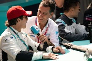 Mario Dominguez, Jaguar VIP car being interviewed at the autograph session