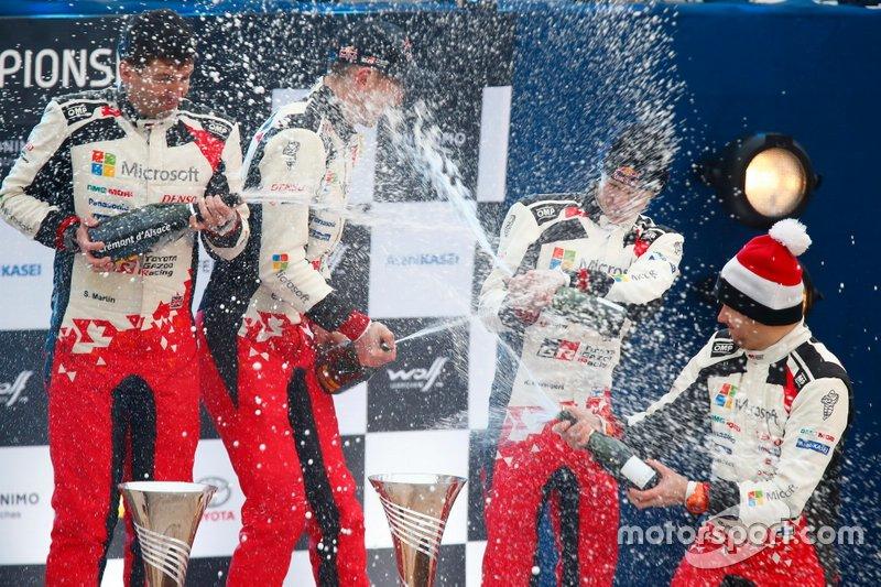 Podio: Elfyn Evans, Scott Martin, Toyota Gazoo Racing WRT Toyota Yaris WRC, Kalle Rovanperä, Jonne Halttunen, Toyota Gazoo Racing WRT Toyota Yaris WRC