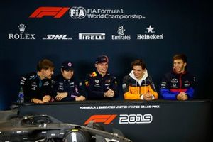 Press conference, George Russell, Williams Racing, Lance Stroll, Racing Point, Max Verstappen, Red Bull Racing, Lando Norris, McLaren and Pierre Gasly, Toro Rosso