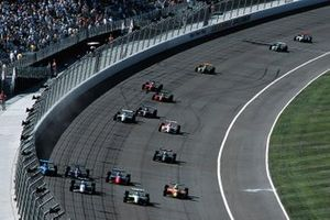 Four-Wide-Racing in Fontana: Greg Moore, Cristiano da Matta, Mark Blundell, Robby Gordon