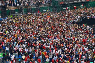 A huge crowd gathers for the podium ceremony