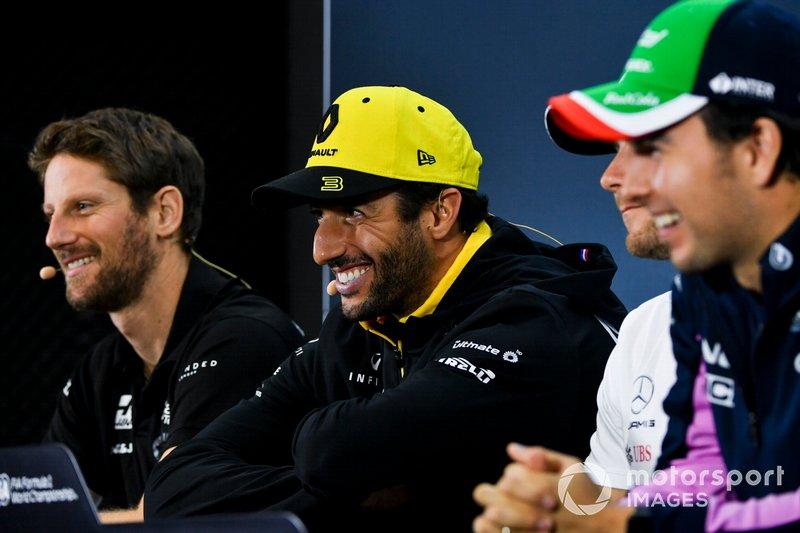 Romain Grosjean, Haas F1, Daniel Ricciardo, Renault F1 Team and Sergio Perez, Racing Point In the Press Conference