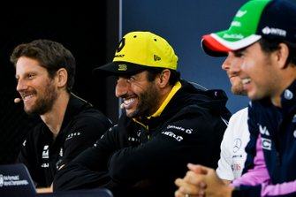 Romain Grosjean, Haas F1, Daniel Ricciardo, Renault F1 Team et Sergio Perez, Racing Point, en conférence de presse