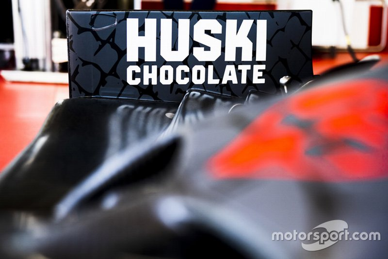 Huski chocolate logo on the Alfa Romeo car