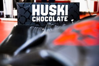 Huski chocolate logo on the Alfa Romeo car