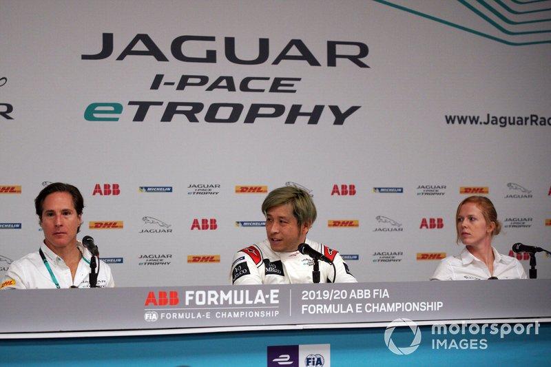 Mario Dominguez, Takuma Aoki, Alice Powell in the press conference