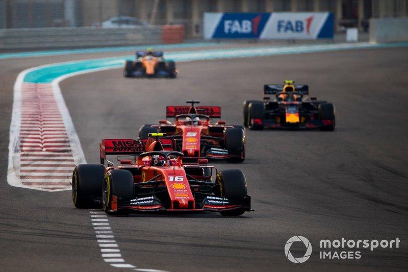 Charles Leclerc, Ferrari SF90, Sebastian Vettel, Ferrari SF90, Alexander Albon, Red Bull RB15, Carlos Sainz Jr., McLaren MCL34