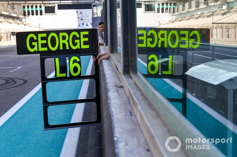 George Russell, Mercedes AMG F1, pit board
