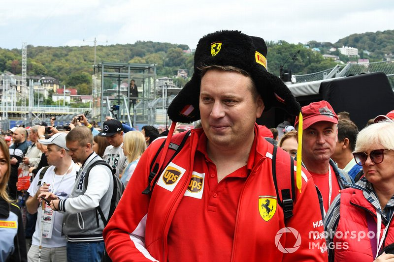 A Ferrari fan in a Russian hat