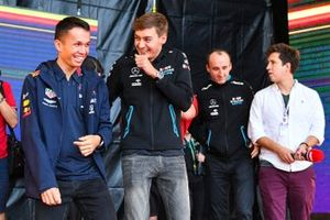 Alex Albon, Red Bull Racing, and George Russell, Williams Racing, meet fans