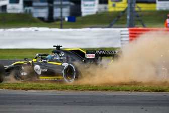 Daniel Ricciardo, Renault F1 Team R.S.19, runs onto the grass