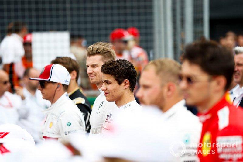 Kimi Raikkonen, Alfa Romeo Racing, Nico Hulkenberg, Renault F1 Team, Lando Norris, McLaren, Valtteri Bottas, Mercedes AMG F1, e Charles Leclerc, Ferrari
