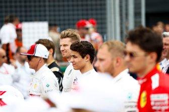 Kimi Raikkonen, Alfa Romeo Racing, Nico Hulkenberg, Renault F1 Team, Lando Norris, McLaren, Valtteri Bottas, Mercedes AMG F1, and Charles Leclerc, Ferrari