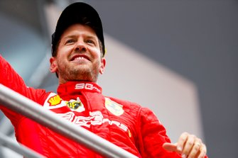 Sebastian Vettel, Ferrari, 2nd position, on the podium
