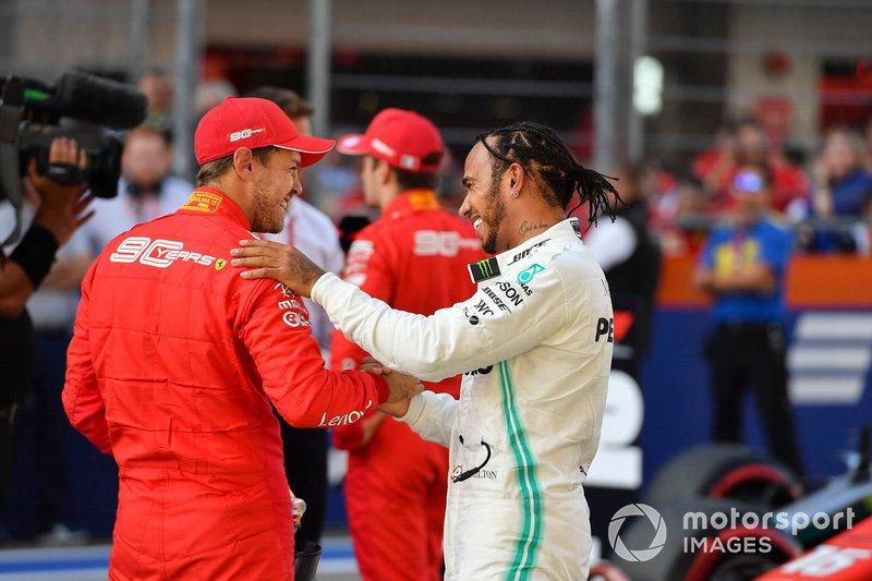 Lewis Hamilton, Mercedes AMG F1, e Sebastian Vettel, Ferrari