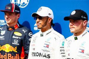 Top three Qualifiers Max Verstappen, Red Bull Racing, pole man Lewis Hamilton, Mercedes AMG F1, and Valtteri Bottas, Mercedes AMG F1
