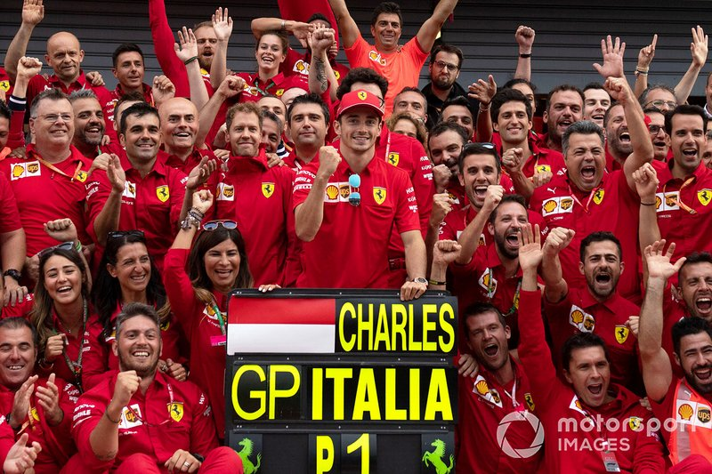 Race winner Charles Leclerc, Ferrari poses for a photograph with his Ferrari team