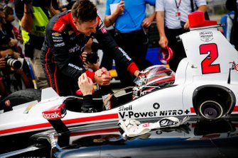 Josef Newgarden, Team Penske Chevrolet celebrates winning the NTT IndyCar championship, Will Power, Team Penske Chevrolet