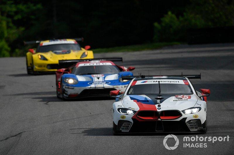 #25 BMW Team RLL BMW M8 GTE, GTLM: Tom Blomqvist, Connor De Phillippi, #66 Ford Chip Ganassi Racing Ford GT, GTLM: Joey Hand, Dirk Mueller, #3 Corvette Racing Corvette C7.R, GTLM: Jan Magnussen, Antonio Garcia