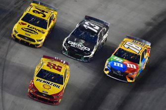 Joey Logano, Team Penske, Ford Mustang Shell Pennzoil, Kyle Busch, Joe Gibbs Racing, Toyota Camry M&M's, Ty Dillon, Germain Racing, Chevrolet Camaro GEICO Military and Michael McDowell, Front Row Motorsports, Ford Mustang Love's Travel Stops