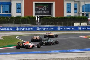 Daniel Ricciardo, McLaren MCL35M, Lando Norris, McLaren MCL35M, Lance Stroll, Aston Martin AMR21, and Max Verstappen, Red Bull Racing RB16B