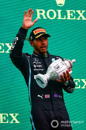 Lewis Hamilton, Mercedes, 3rd position, with his trophy