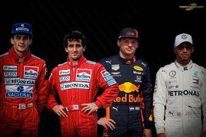 Ayrton Senna, Alain Prost, Max Verstappen, Lewis Hamilton