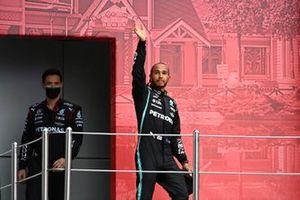 Lewis Hamilton, Mercedes, 1st position, arrives on the podium