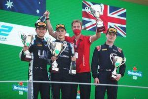 Podium: Race winner Oscar Piastri, Prema Racing, second place Guanyu Zhou, UNI-Virtuosi, third place Dan Ticktum, Carlin