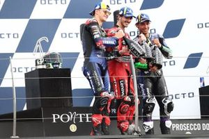 Francesco Bagnaia, Ducati Team, Fabio Quartararo, Yamaha Factory Racing, Enea Bastianini, Esponsorama Racing podium