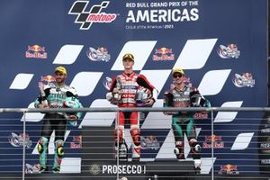 Izan Guevara, Aspar Team Moto3, Dennis Foggia, Leopard Racing, John Mcphee, Petronas Sprinta Racing podium