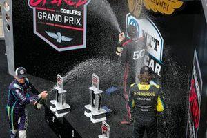 Podio: ganador Will Power, Team Penske Chevrolet, segundo lugar Romain Grosjean, Dale Coyne Racing with RWR Honda, tercer lugar Colton Herta, Andretti Autosport w/ Curb-Agajanian Honda