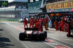 Charles Leclerc, Ferrari SF90, comes in for a stop