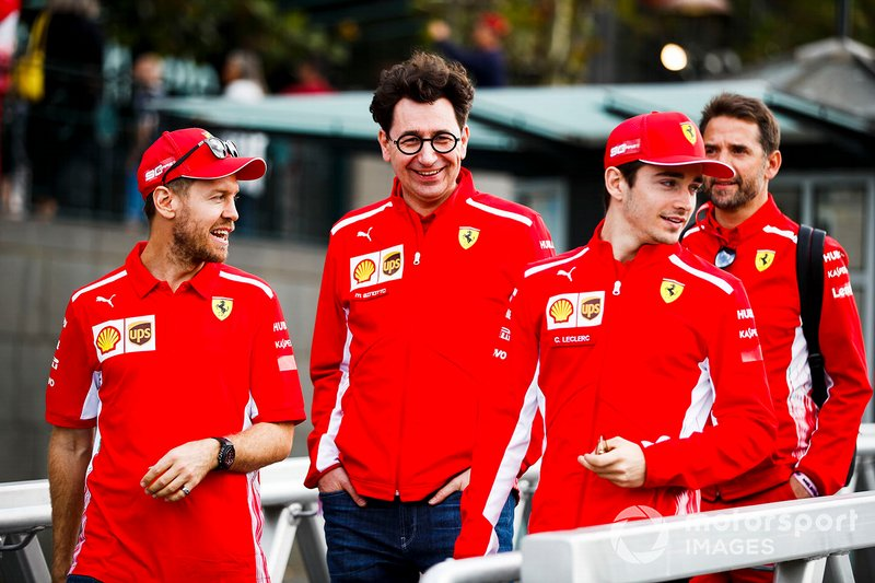 Sebastian Vettel, Ferrari, Mattia Binotto, Team Principal Ferrari and Charles Leclerc, Ferrari on the way to the Federation Square event