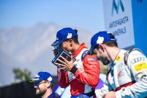 Pascal Wehrlein, Mahindra Racing, 2nd position, celebrates on the podium