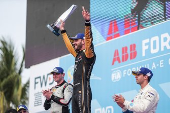 Jean-Eric Vergne, DS TECHEETAH, 1st position, celebrates on the podium alongside Oliver Rowland, Nissan e.Dams, 2nd position, Antonio Felix da Costa, BMW I Andretti Motorsports, 3rd position,
