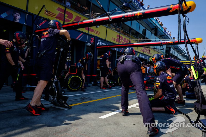 Crew Red Bull Racing durante un pit stop
