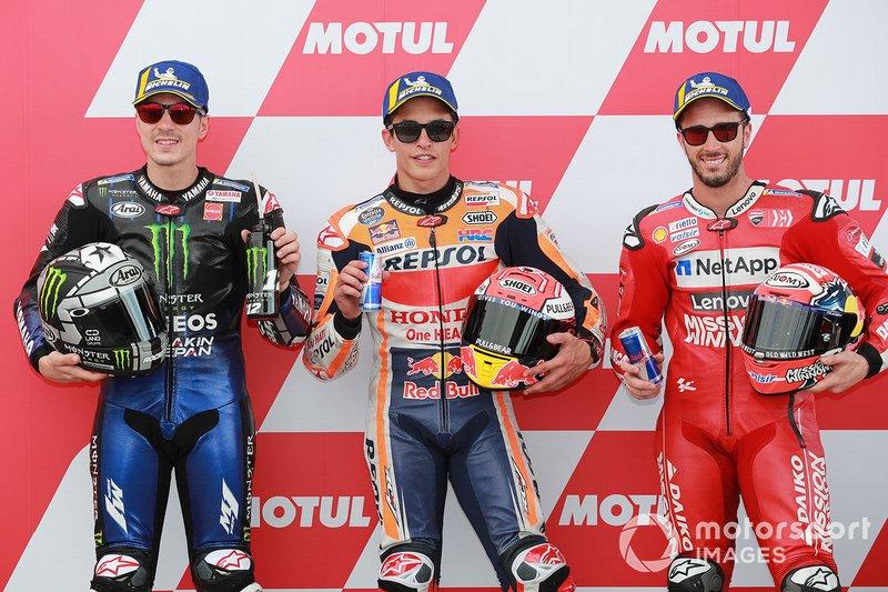 Ganador de la pole Marc Márquez, Repsol Honda Team, Maverick Viñales, Yamaha Factory Racing, tercer lugar, Andrea Dovizioso, Ducati Team