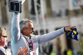 Gerd Mäuser, Chairman, Panasonic Jaguar Racing, on the podium