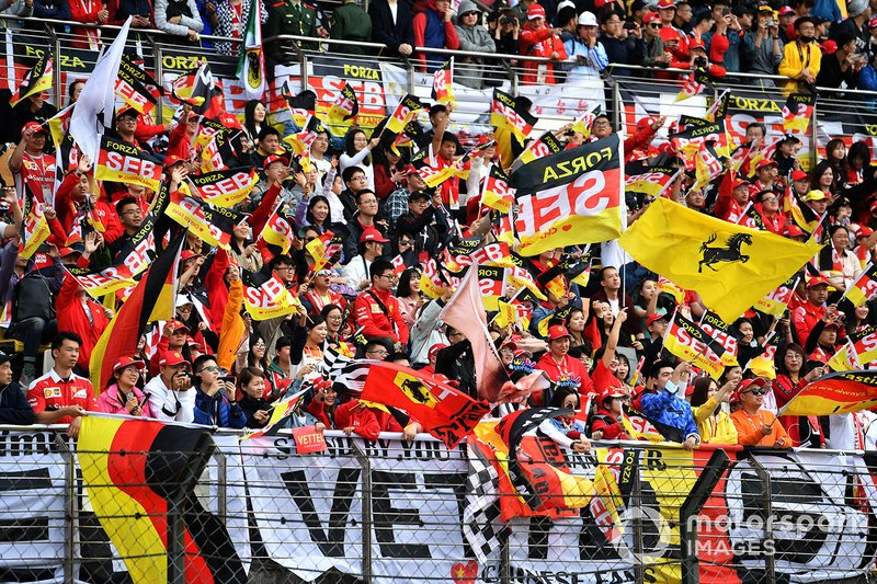 Crowd support for Sebastian Vettel, Ferrari