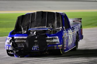 Clay Greenfield, Clay Greenfield Motorsports, Chevrolet Silverado shows damage after a wreck