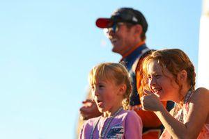 Scott Dixon, Chip Ganassi Racing Honda, 2018 IndyCar Series Champion, with Wife Emma, and kids, Tilly and Poppy