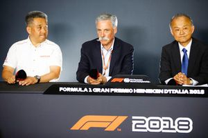 Masashi Yamamoto, General Manager, Honda Motorsport, Chase Carey, Chairman, Formula One, and Susumu Yamashita, President at MobilityLand Corp, announce Hondas sponsorship of the Japanese Grand Prix