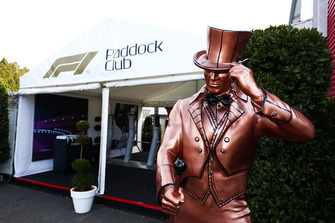A statue outside the entrance to the Paddock Club