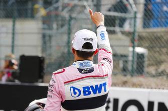 Esteban Ocon, Racing Point Force India, viert zijn derde plaats