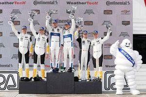 #4 Corvette Racing Chevrolet Corvette C7.R, GTLM - Oliver Gavin, Tommy Milner, #67 Chip Ganassi Racing Ford GT, GTLM - Ryan Briscoe, Richard Westbrook, #3 Corvette Racing Chevrolet Corvette C7.R, GTLM - Antonio Garcia, Jan Magnussen, podium, MIchelin, Bib, Bibendum