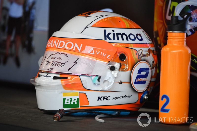The helmet of Stoffel Vandoorne, McLaren