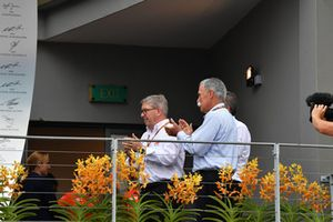 Ross Brawn, Formula One Managing Director of Motorsports and Chase Carey, Chief Executive Officer and Executive Chairman of the Formula One Group with F1 in Schools on the podium