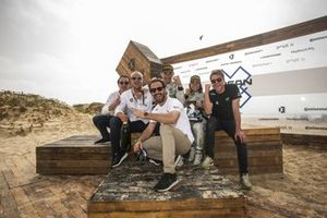 Formula E driver and Veloce Racing co-founder Jean-Eric Vergne with Jamie Chadwick, Stephane Sarrazin, Veloce Racing